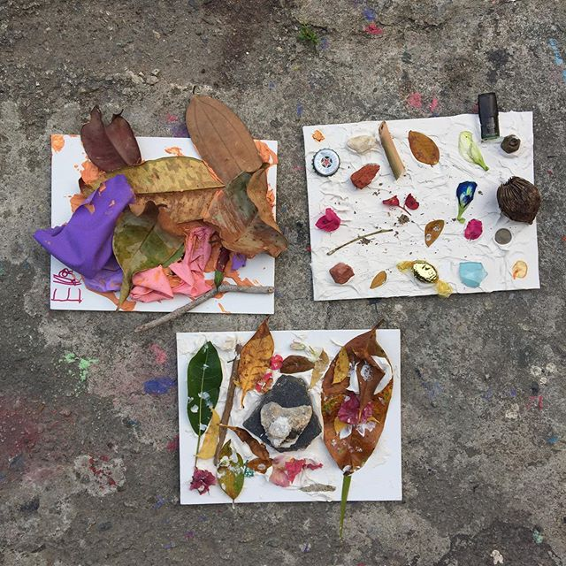 Balloons, random plastic bits, leaves, flowers, a worn-out glass shard, a five-cent coin, assorted stones...A good day of treasure-hunting! #art #craft #artwithkids #foundobjectswithkids