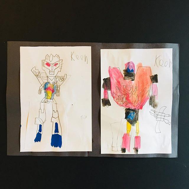 Keon's very cool drawings of his toy transformers🌟#art #drawing #watercolours #childrenartwork #artforkids