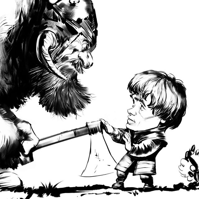 More Game of Thronage... this one's a little obscure, inspired by a line that appears once in season 1 of the TV show but quite a few times in the book #gameofthrones #gameofthronesfanart #gotfanart #tyrionlannister #peterdinklage #shaggasonofdolf #digitalinking #wacomtablet #corelpainter