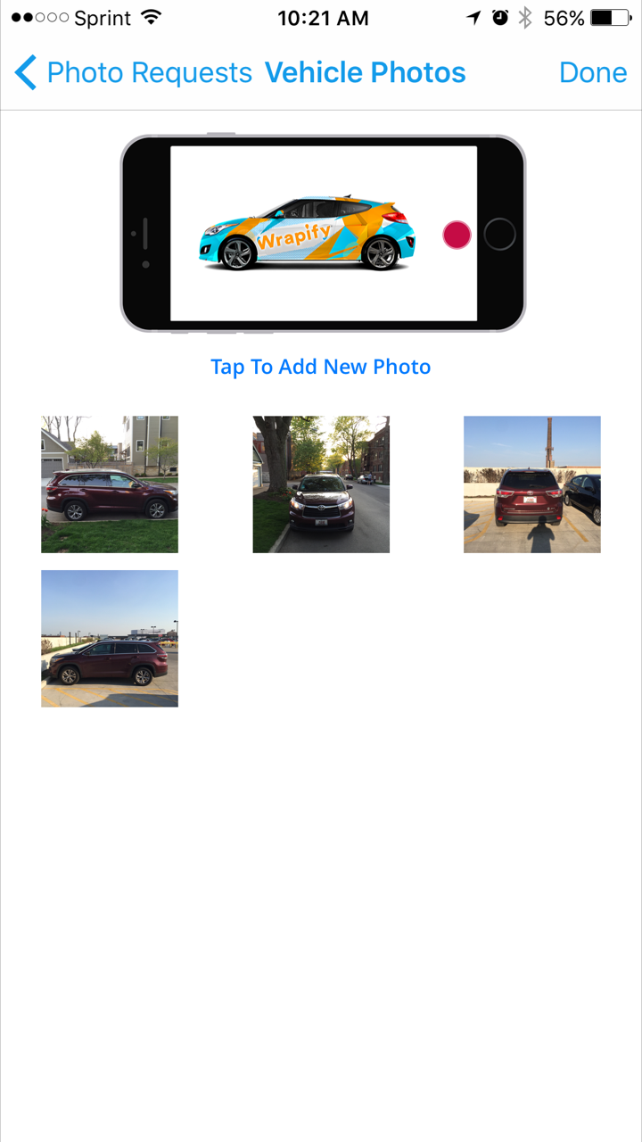 Vehicle images supplied via app.