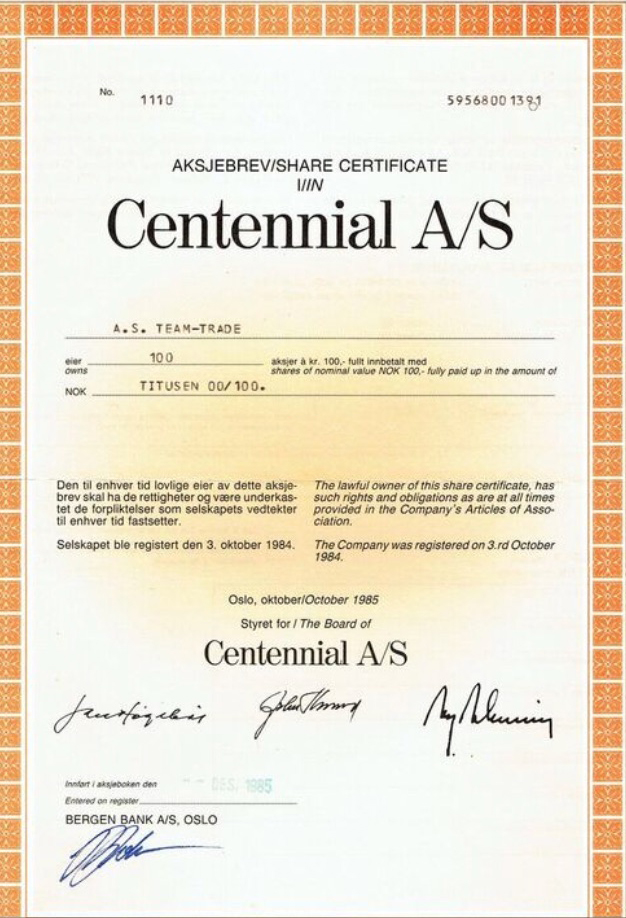 The original share certificate