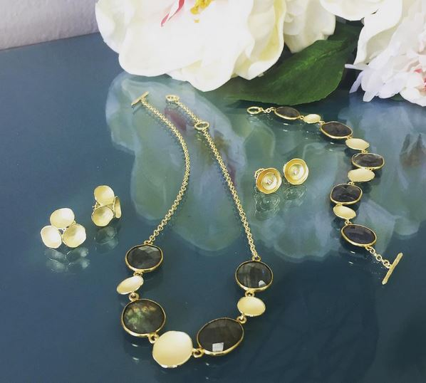 Sarah Richardson - San Rafael, CA.  Earrings, necklaces, & bracelets combining 18k gold vermeil, sterling silver, & gems.