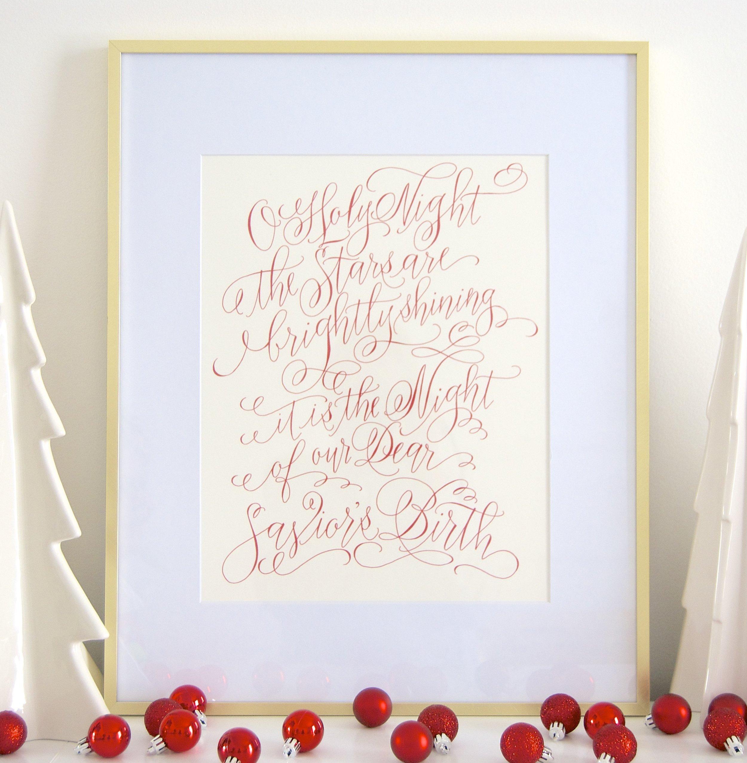O Holy Night Calligraphy Print