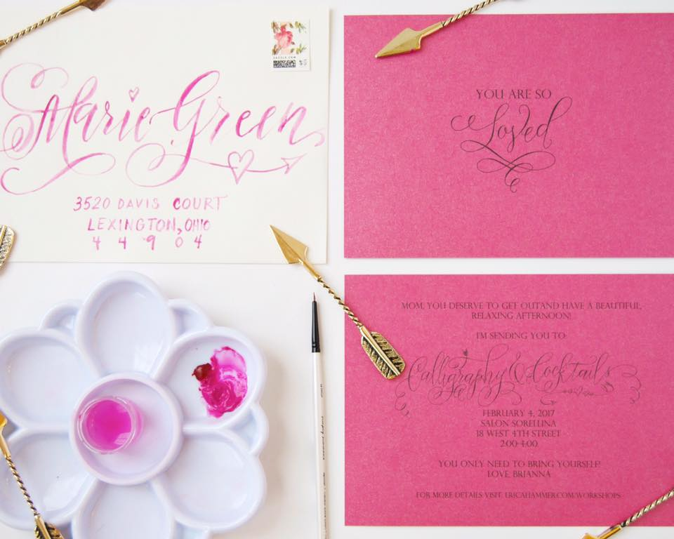 Watercolor Envelopes Calligraphy by Erica Hammer Calligraphy