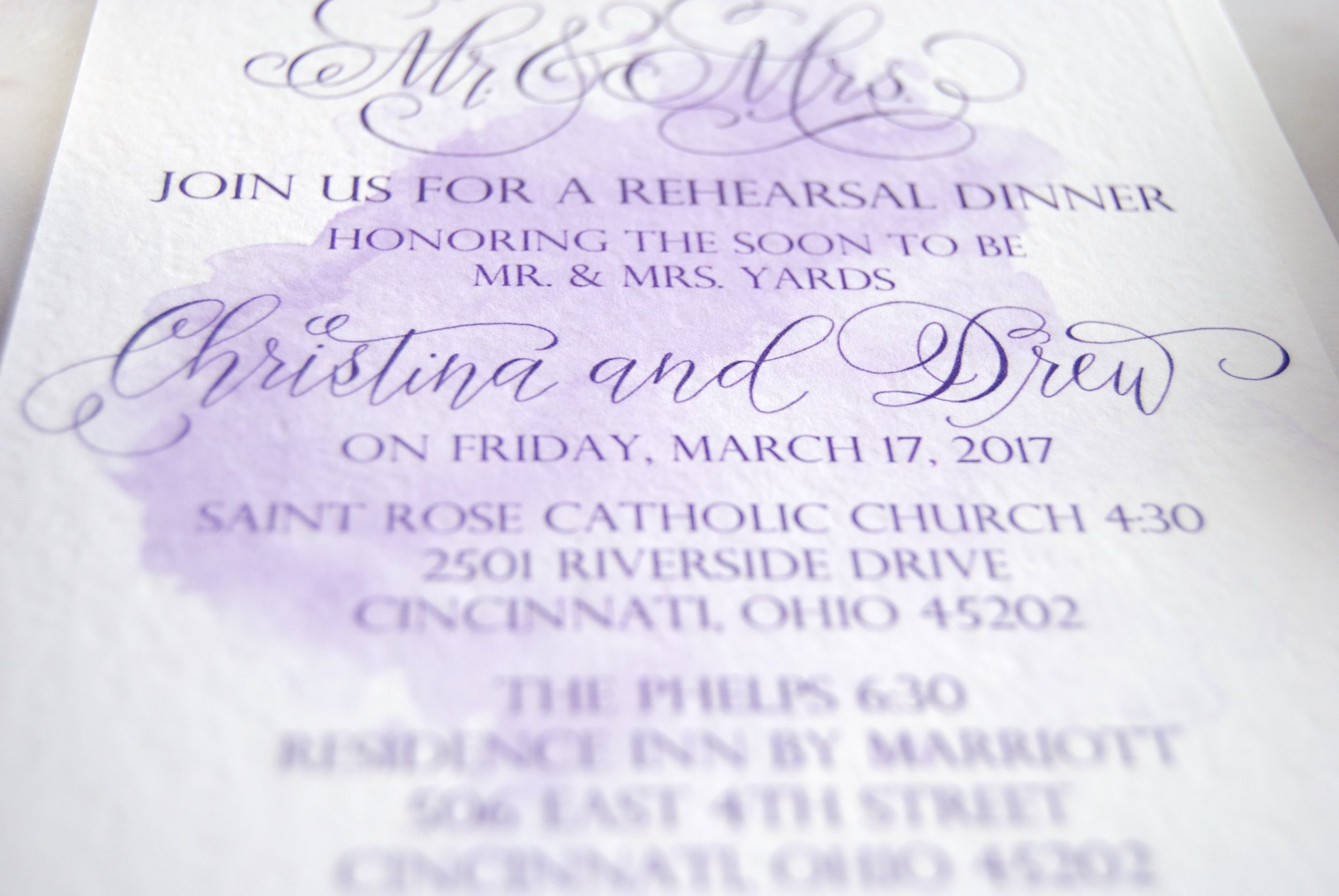 Watercolor Invitations Modern Calligraphy