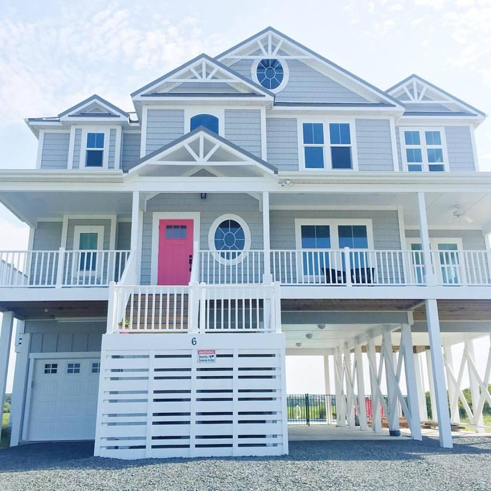 Beach house with hot pink door Ocean Isle, SC