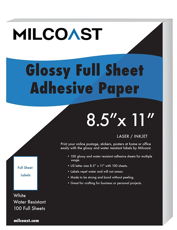 Glossy Full Sheet Adhesive Paper