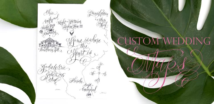 Custom Wedding Maps by Erica Hammer Calligraphy