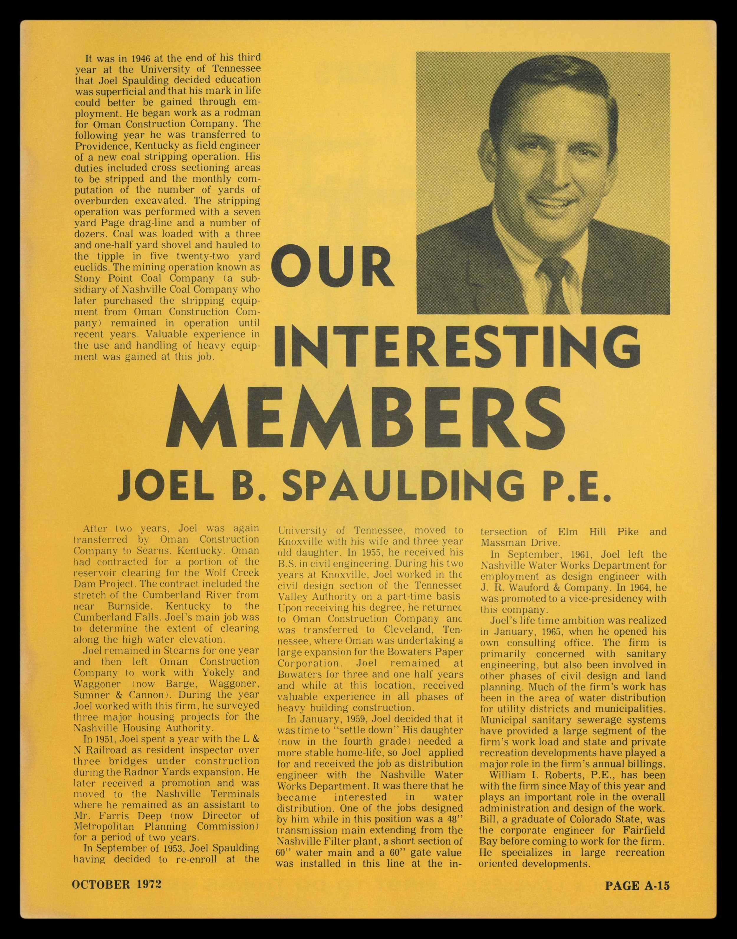 Article on our founder, Joel Spaulding from Building Tennessee in October of 1972.