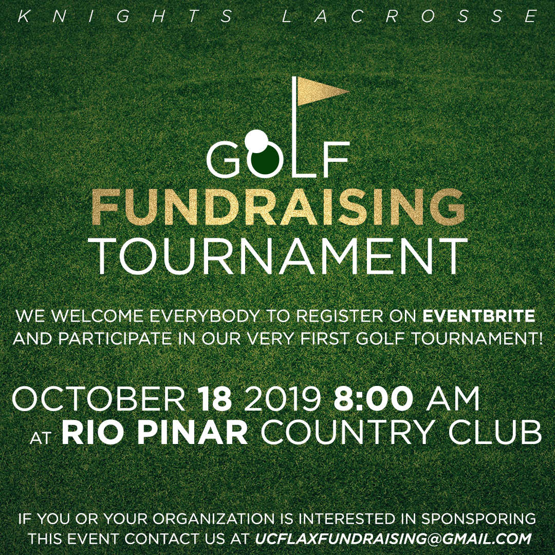 SIGN UP FOR OUR FIRST EVER GOLF FUNDRAISER - We will be hosting our first ever Fundraising Golf Tournament to help support us this upcoming season. This tournament will be hosted by the beautiful Rio Pinar Country Club, right down the road from UCF. This event will take place Friday, October 18th (Homecoming Weekend). This event is open to anyone and tickets can be purchased through the link in our bio. Along with a round of golf we will have raffles, a par of 3 contest, a longest drive competition, and plenty of giveaways. Lunch will also be provided to all participants.Sponsorship opportunities available through link in picture.If you have any questions please email us at ucflaxfundraising@gmail.com