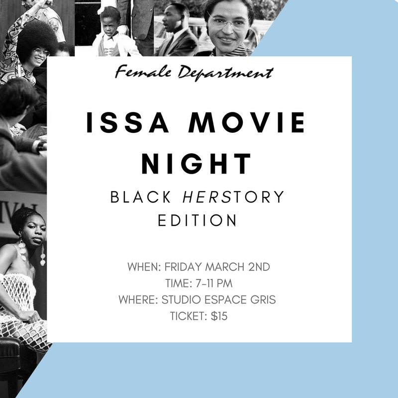 Female Department is launching their exclusive FD Movie Nights. Held on the last Friday of every month, you'll be watching 2 films/night, exploring everything from classics and documentaries to chick flicks and binge-worthy Netflix series which highlight women in all their complex glory. Think girls night, with a twist.  FIRST UP: 'Hidden Figures' and 'Free Angela and all Political Prisoners' - two historically defining films exploring the lives and work of trail-blazing black women. More info +
