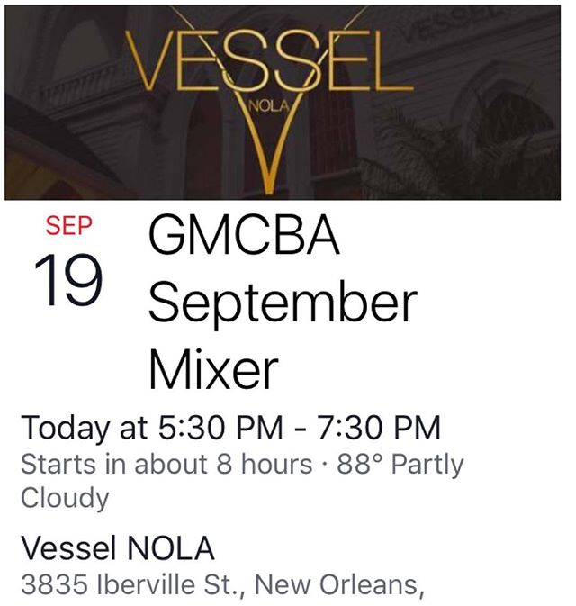 Tonight! September Mixer #midcitybiz #networking #entrepreneurs #nola @vesselnola