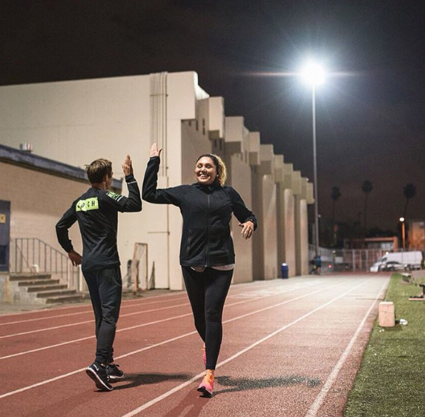 High-fives with Coach  @blue_benadum  at a NRC Track Tuesday