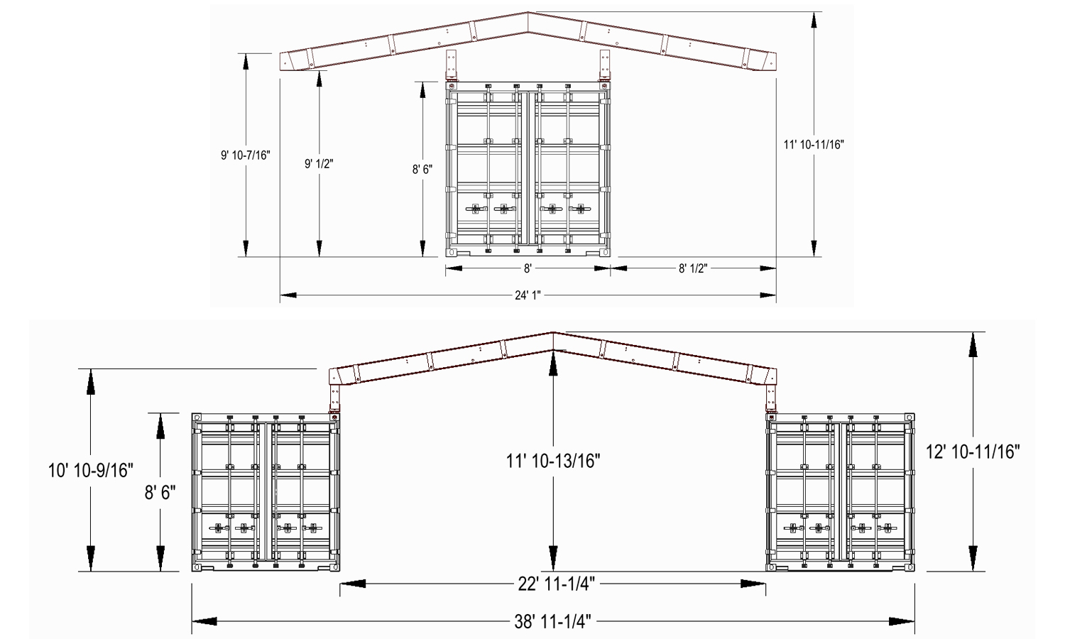 ISO container roof system dimensions