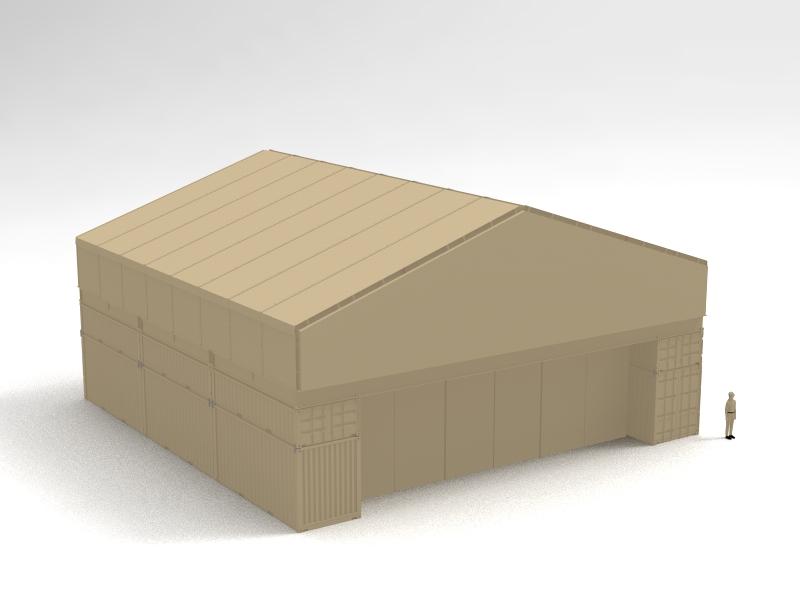 60Wx23Hx60L Olympic Folding Building - ConTEMProof - Rapid Deployment Modular Protective Enclosure