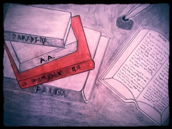 "Image Description: Drawing, on left, four books stacked loosely, titles not easily legible.  The initials ""A.A."" and the title ""Paradox"" are legible. A book on the left lies open with blurred words, and a quill just above, to the left, in an ink pot."