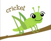 """Image Description: Cartoon image of a green cricket on a brown branch. The cricket is smiling and has eyebrows that are above it's head. A label of """"cricket"""" above it."""