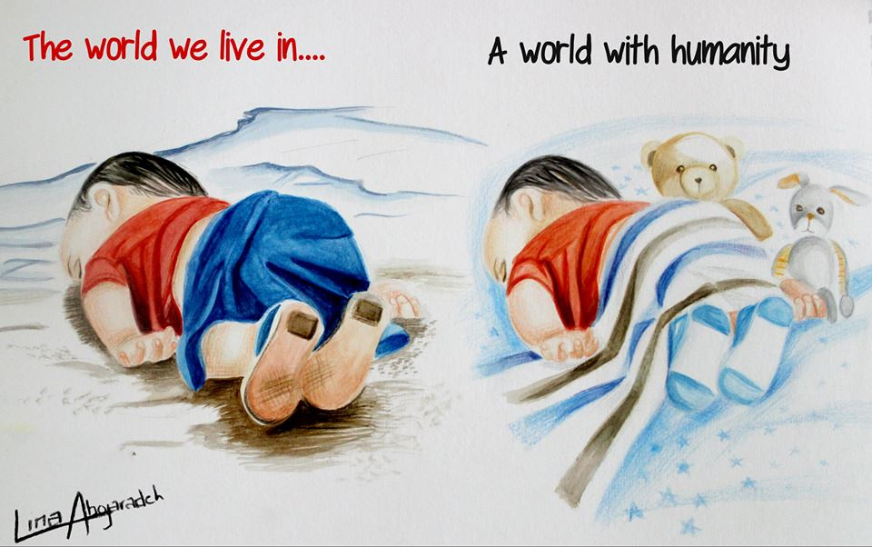 Art Description: Two similar images side by side.  On the left a baby lay asleep on the beach with waves near it's head, uncovered, with a red t-shirt and blue bottom, still wearing the shoes. The image on the right is a baby covered in a blanket, sleeping on a white bed of blue stars, covered in a striped blue, white, and brown blanket, wearing socks, and accompanied by two stuffed animals, a teddy bear and bunny. Signed in the bottom left, Lina Abojaradeh. https://www.facebook.com/linaabojaradehart