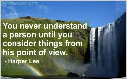 """Picture Description: Quote by Lee Harper, """"You never understand a person until you consider things from his point of View."""" A waterfall and rainbow are in the background."""