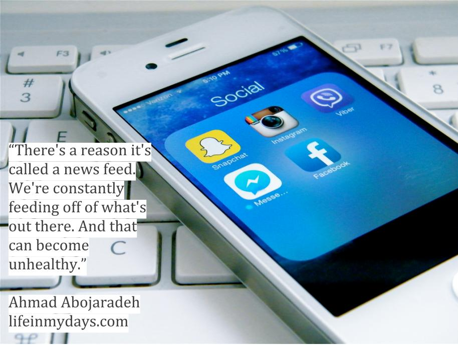 "Social Media Apps fill a phone, which is lying on a keyboard, with the quote "" There's a reason it's called a news feed. We're feeding off of what's out there.  And that can become unhealthy."""