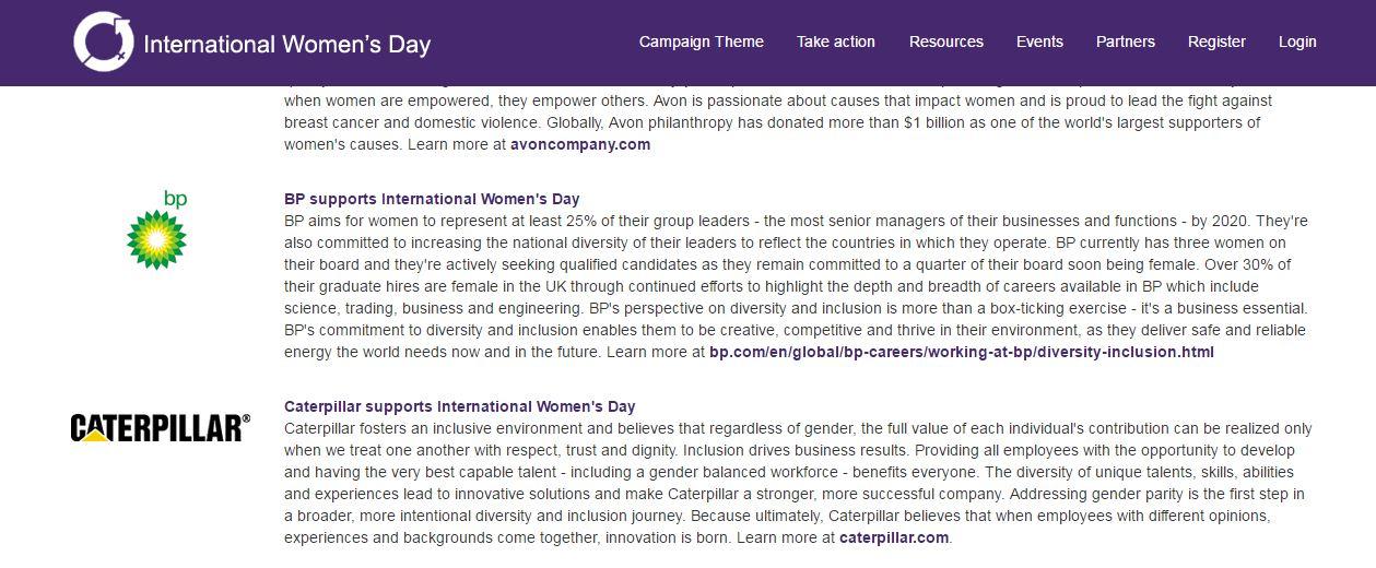 Photo Description: A screenshot from the Partners page on the International Women's Day website https://www.internationalwomensday.com/