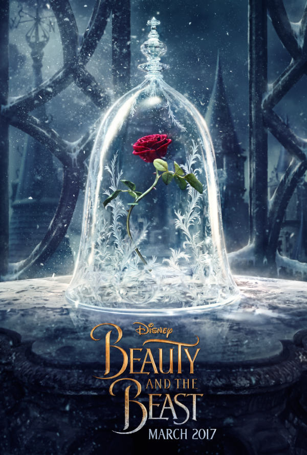 Disney's Beauty and the Beast Poster March 2017. A red rose stands in a glass cover, with snowflakes falling all around, and a castle in the background.