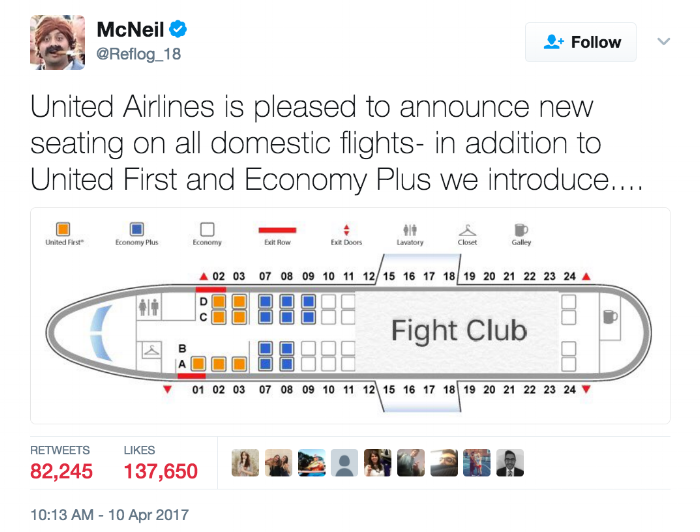 """Picture Description: A screenshot of a tweet from McNeil @Reflog_18 stating """"United Airlines is now pleased to announce new seating on all domestic flights- in addition to United First and Economy Plus we introduce..."""" Underneath is a seating layout of a 24 row plane, with rows 12-24 reserved for Fight club."""