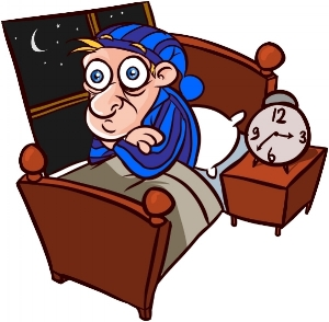 http://www.whywesuffer.com/wp-content/uploads/2012/07/WWS-Insomnia.jpg  Image Description: Exaggerated cartoon of a man suffering from insomnia. The man is sitting up in bed with his arms crossed and eyes bugging out. He has light and dark blue stripped jammies on with a sleeping cap (with a cute little ball on the tip). On the nightstand to the right, an old fashioned wind up clock shows 3:37.  A window to the left of the bed shows a night sky with a crescent moon.