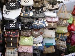 Some of the counterfeit handbag brands sold on the street on Canal St., Chinatown, NYC.