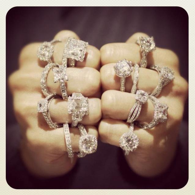 Diamond engagement rings designed by Aja Raden.