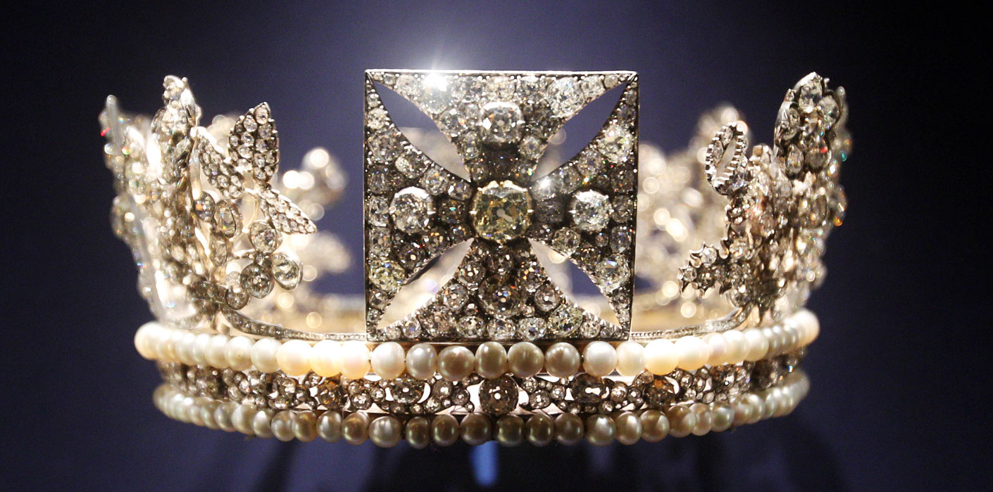 Queen Elizabeth II's  Diamond Diadem. Diamonds were used for royal jewelry, crowns and tiaras before large sources were located in South Africa.