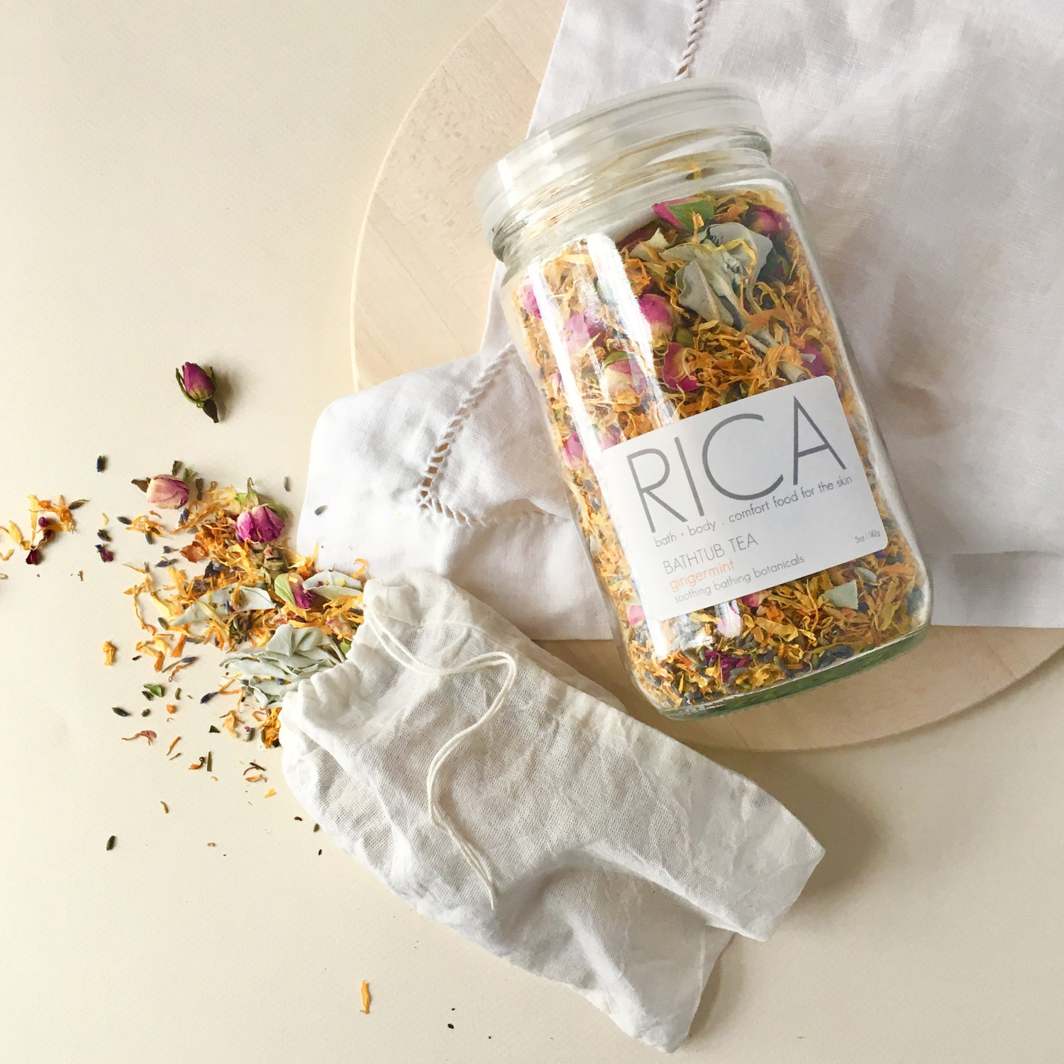 "RICA Bath and Beauty products are fresh-made to order in Brooklyn NY. Mixed ""farm to vanity"" style with organic and local grown ingredients (when possible) and sourced from the farms of Long Island's North Fork. Made without synthetic preservatives, colorants, parabens, sulfates or petroleum, everything is USA made in a Gowanus, Brooklyn studio housing their production facility.  RICA BODY"