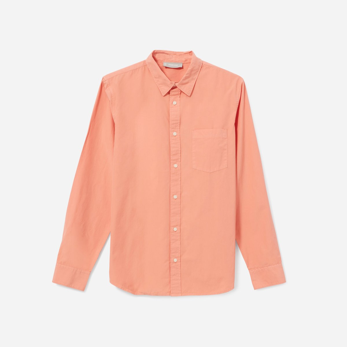 Everlane, The Garment-Dyed Cotton Slim Fit Shirt, Coral, $48