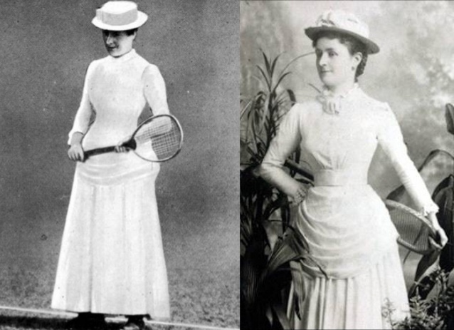 Tennis wear when the sport first became popular to women was quite constricting with corsets, long sleeves, lots of crinoline and a hat!