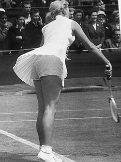 Karol Fageros was banned from her tournament because she wore gold lame tennis shorts underneath her tennis dress.