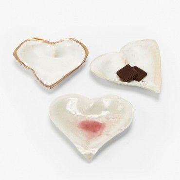ABC CARPET & HOME, JAN BURTZ PORCELAIN HEART DISHES, $40 - $48