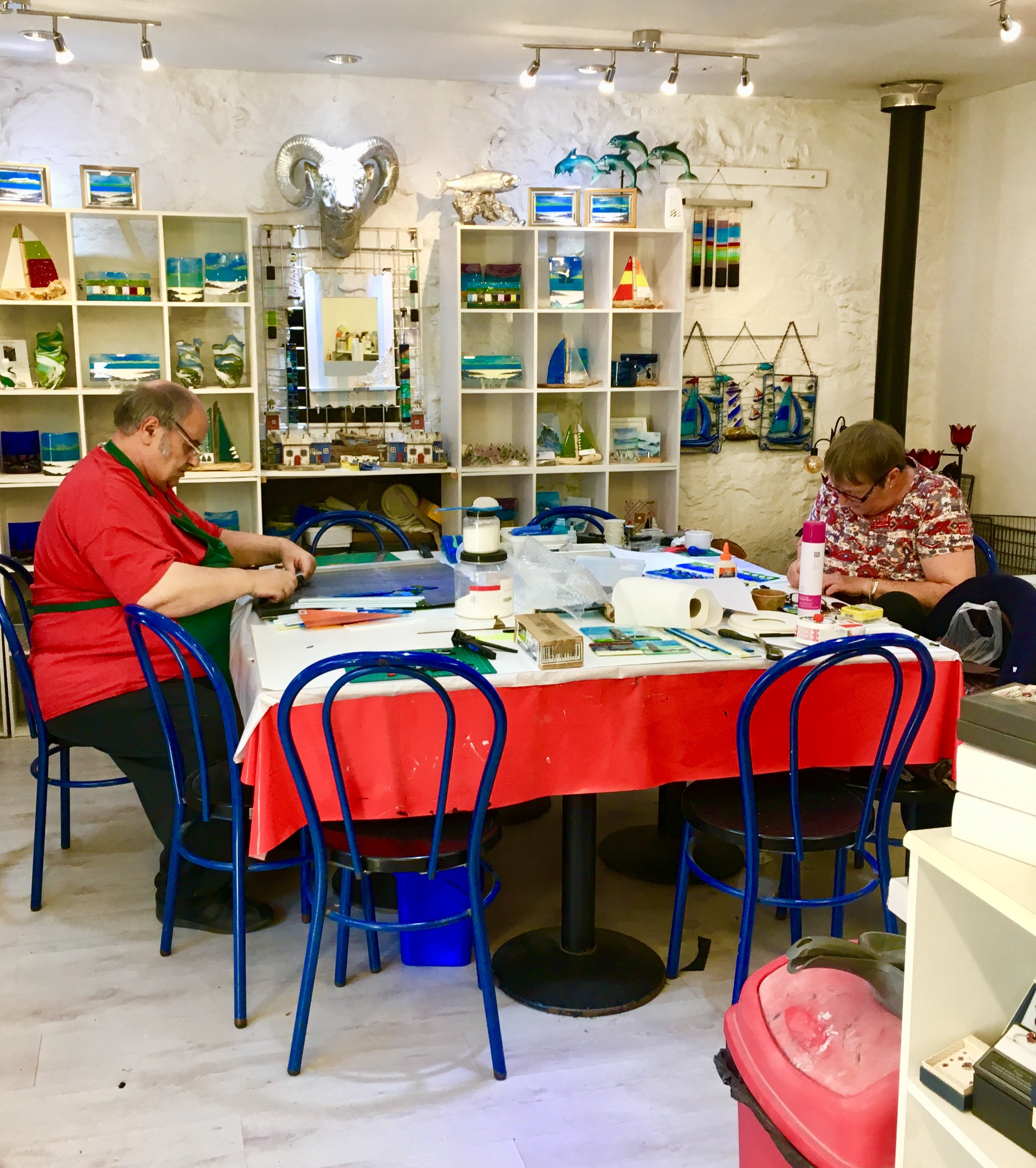 Its typical to see Stuart and Helen hard at work creating their wares.