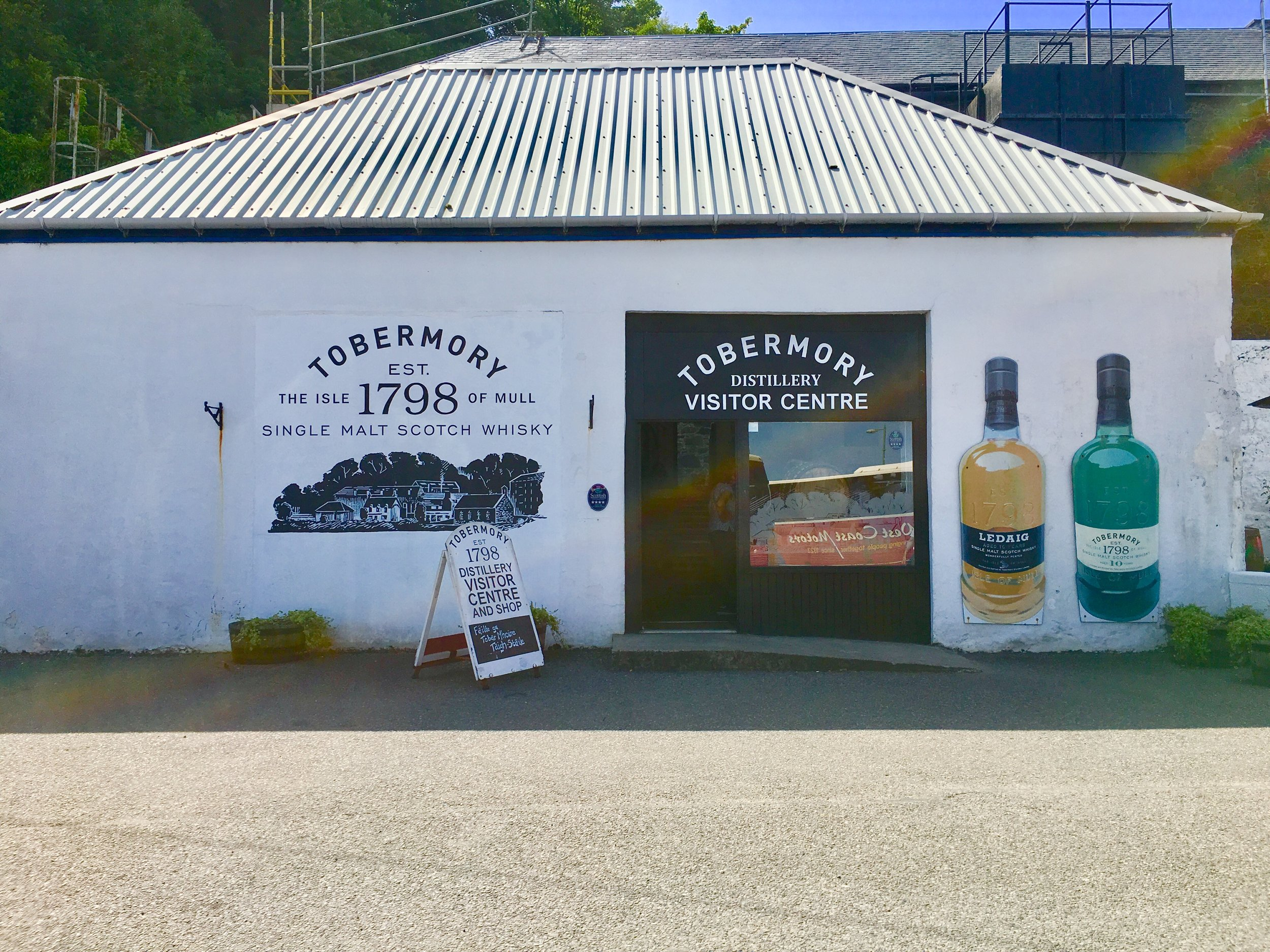 The visitor center for Tobermory Distillery.