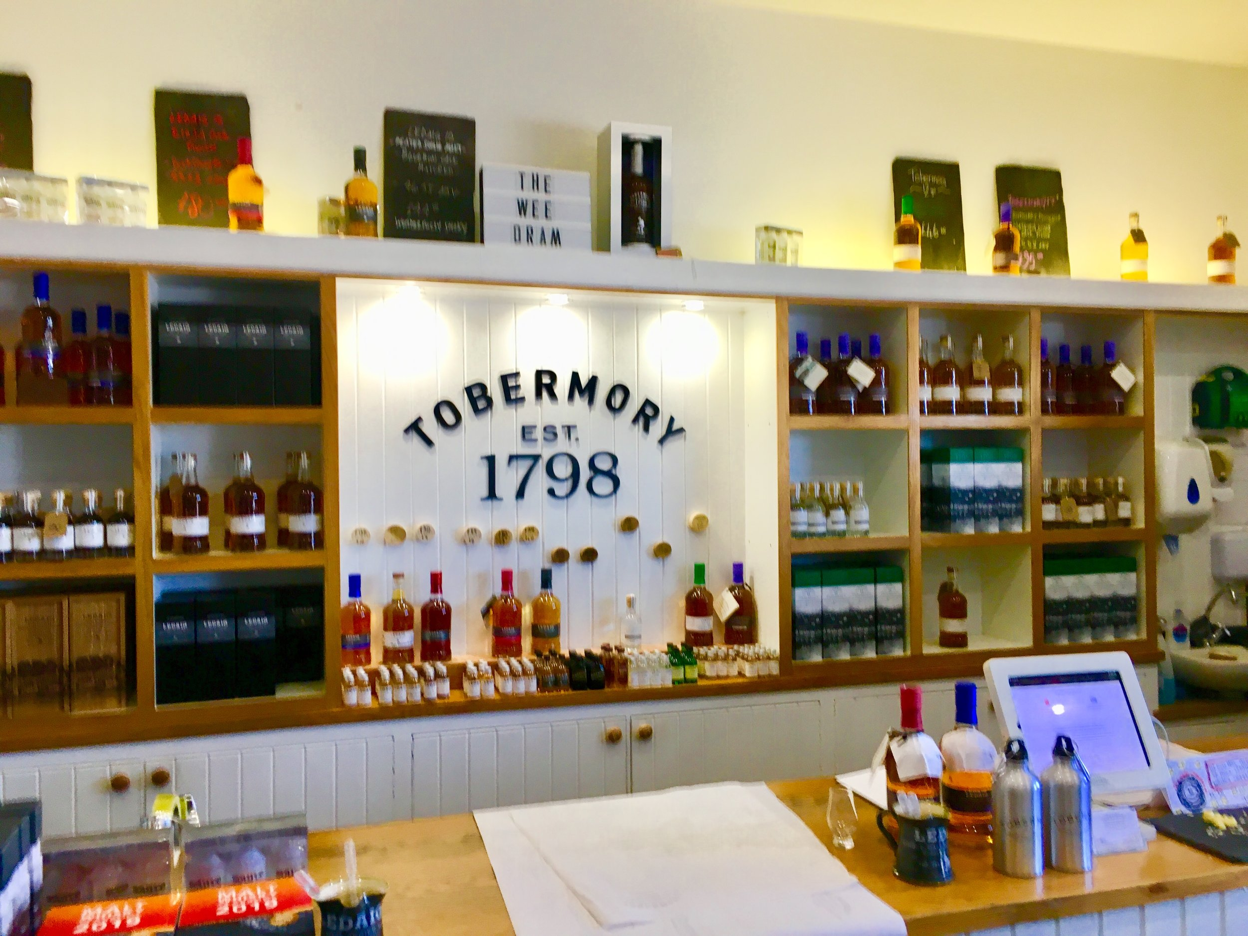 The shop in the visitor center of the distillery offers their entire selection of scotch and whiskey.