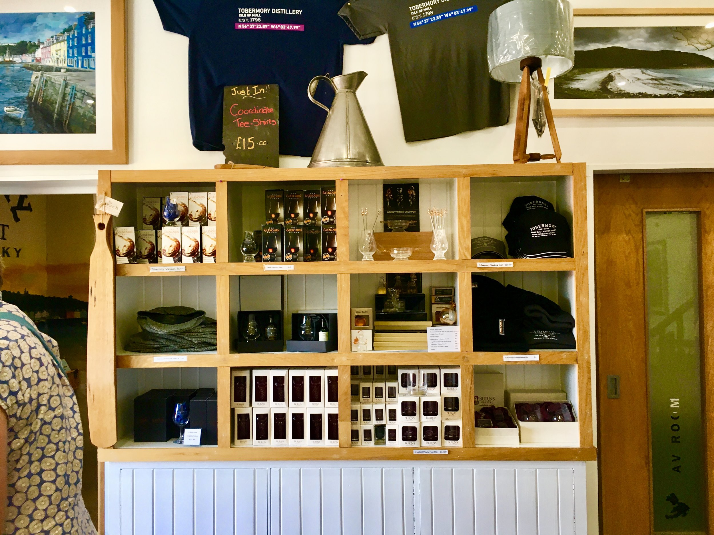 Tobermory Distillery offers more than just whiskey at the visitor center. Here you can purchase, hats, t-shirts and even soap made with whiskey!