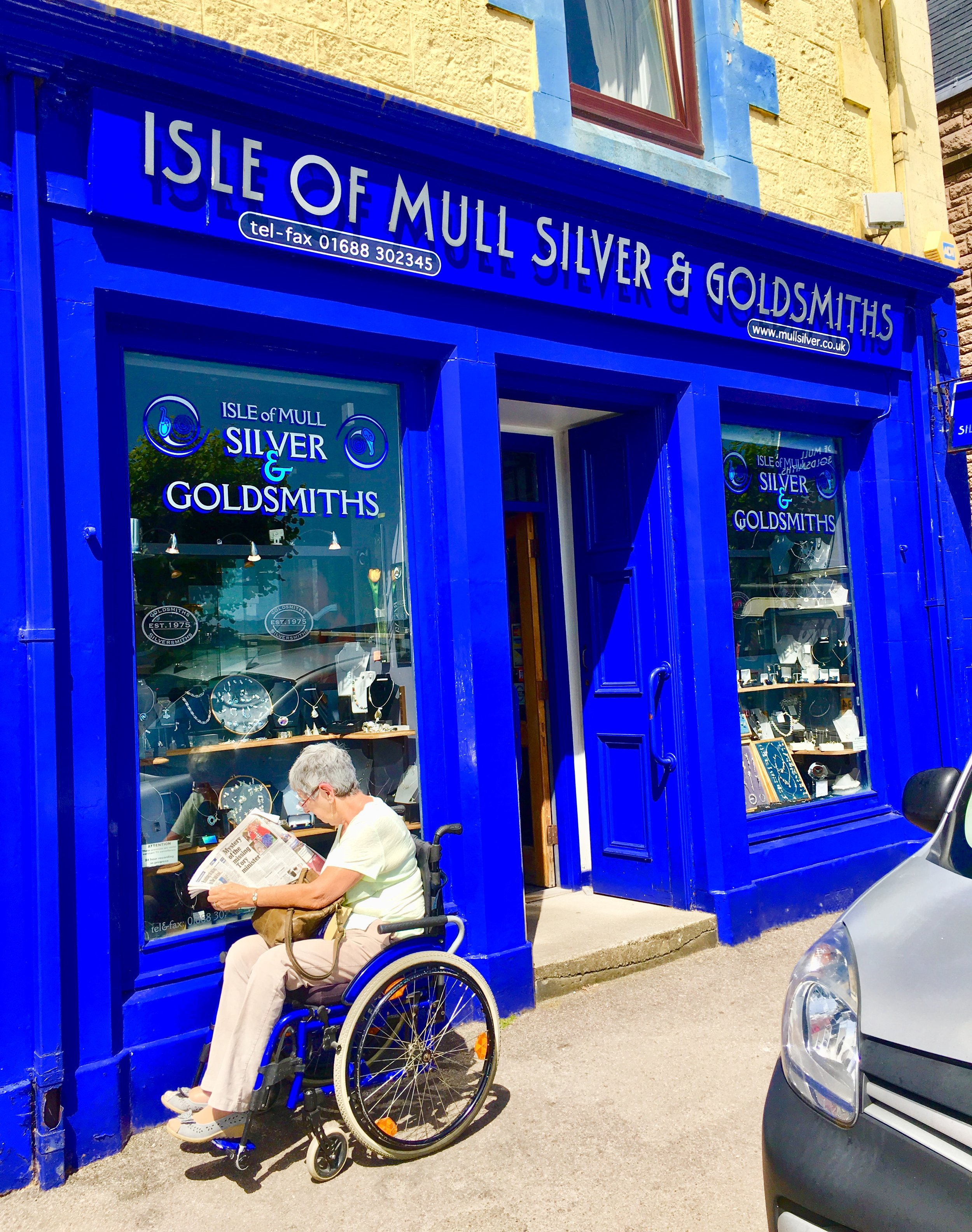 You can't miss Isle of Mull Silver & Goldsmith's cobalt blue storefront on Main Street.
