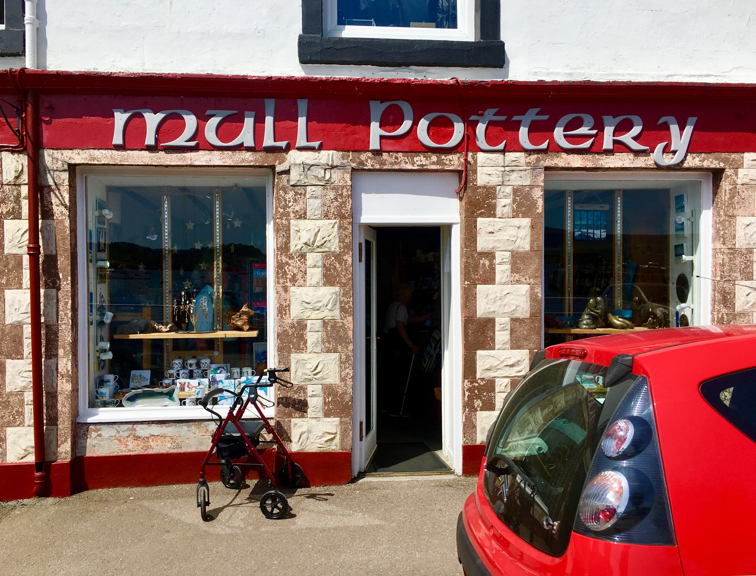 The welcoming storefront of Mull Pottery.