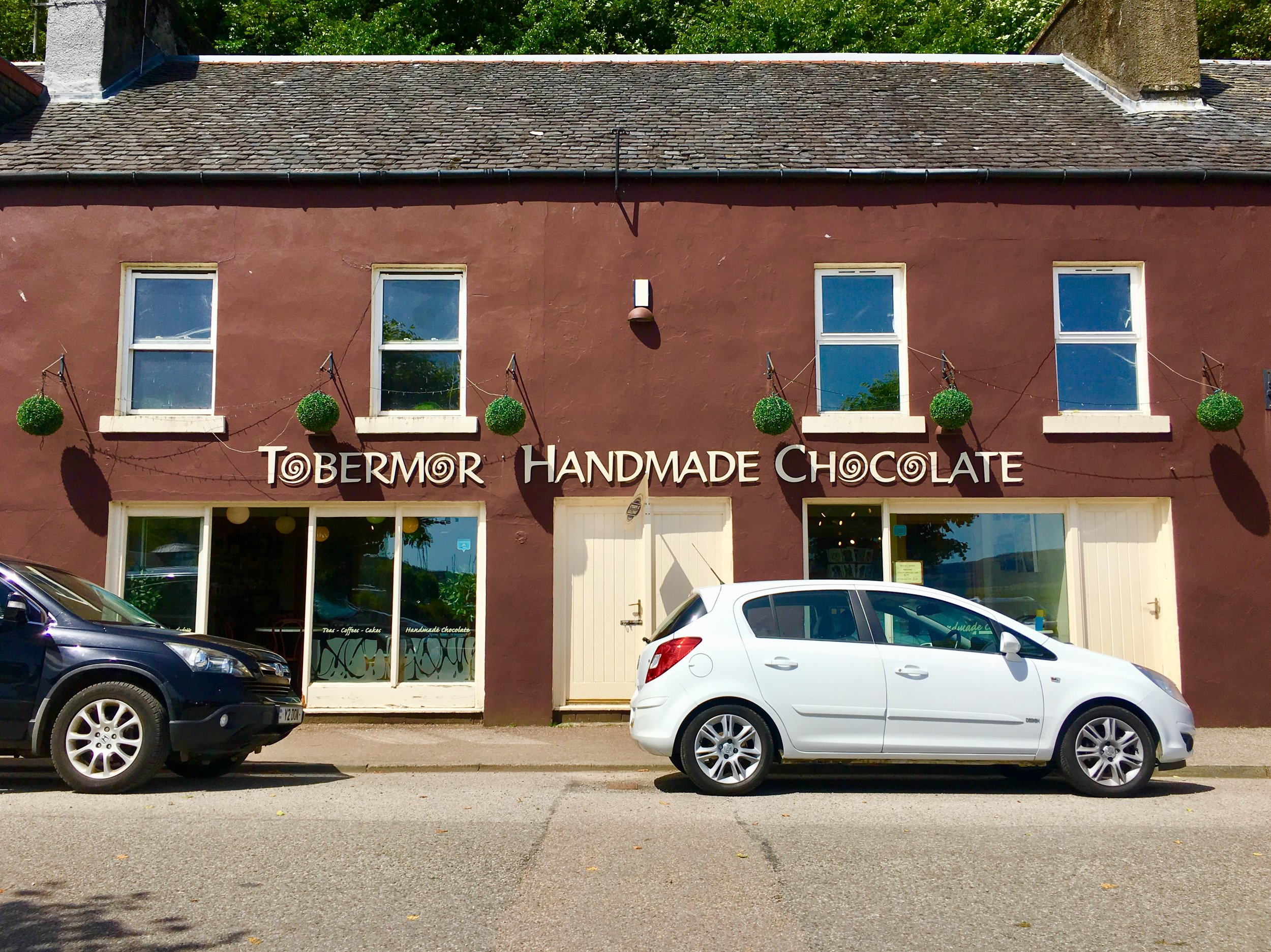 Just look for the chocolate colored building for Tobermory Handmade Chocolate.