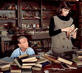 """In """"Funny Face"""", Audrey Hepburn played the bookish bookstore clerk for fictional, Greenwich Village independent bookstore, Embryo Concepts Book Shop."""