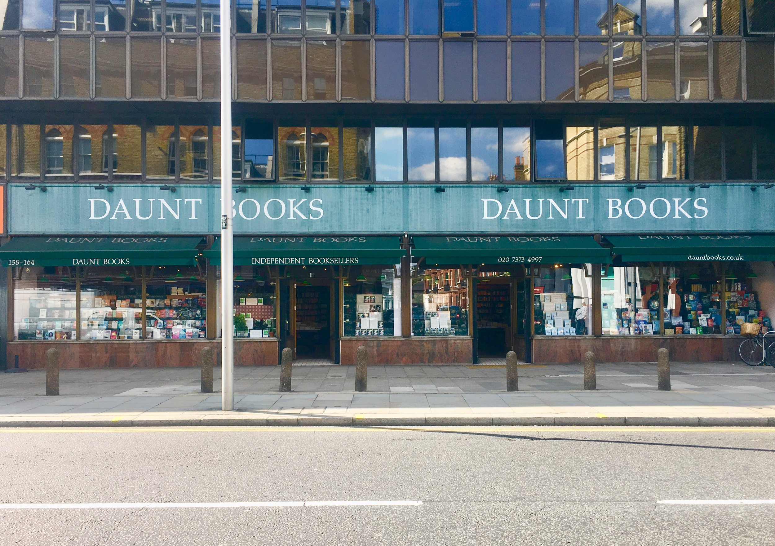 Daunt Books  is an popular independent book store chain in London founded in 1990 and located in various local neighborhoods. Pictured is the Chelsea location. 158-164 Fulham Rd, London, Chelsea, UK.