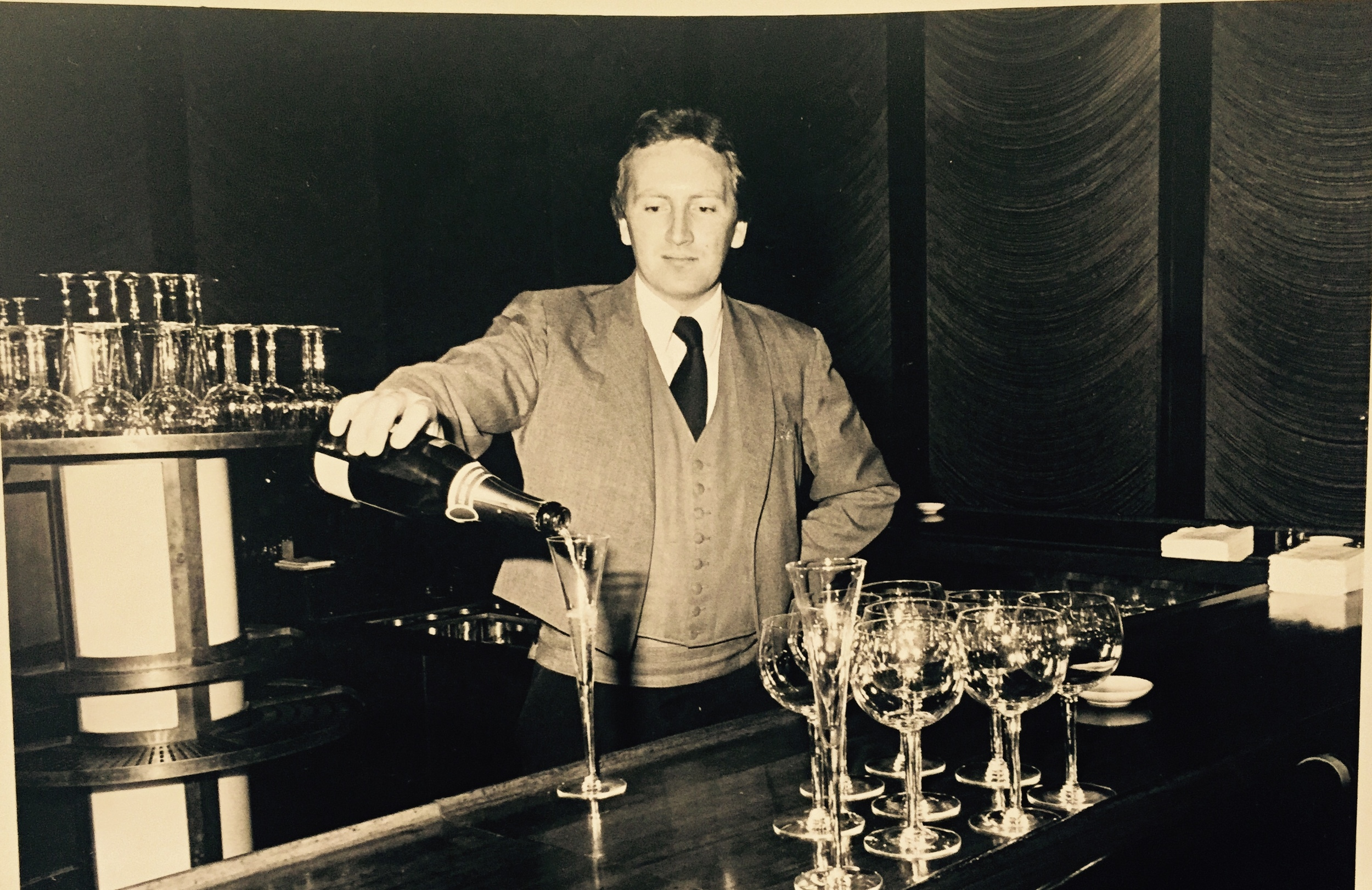 Lenny behind the bar at the Four Seasons Restaurant in New York