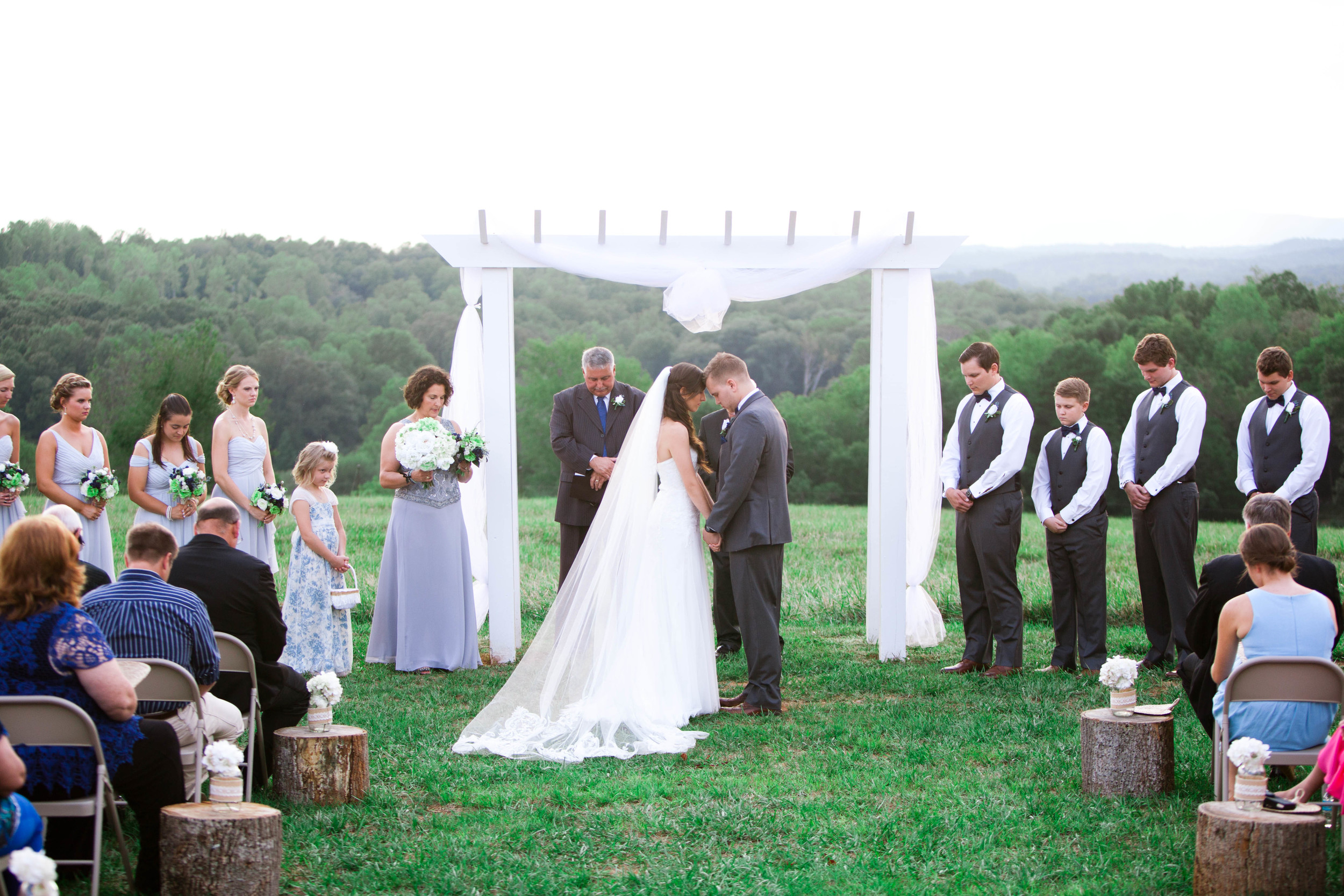 prayer, unplugged ceremony, lindsey plantation, sc wedding photographer, poured out photography, rustic, lace, barn, field
