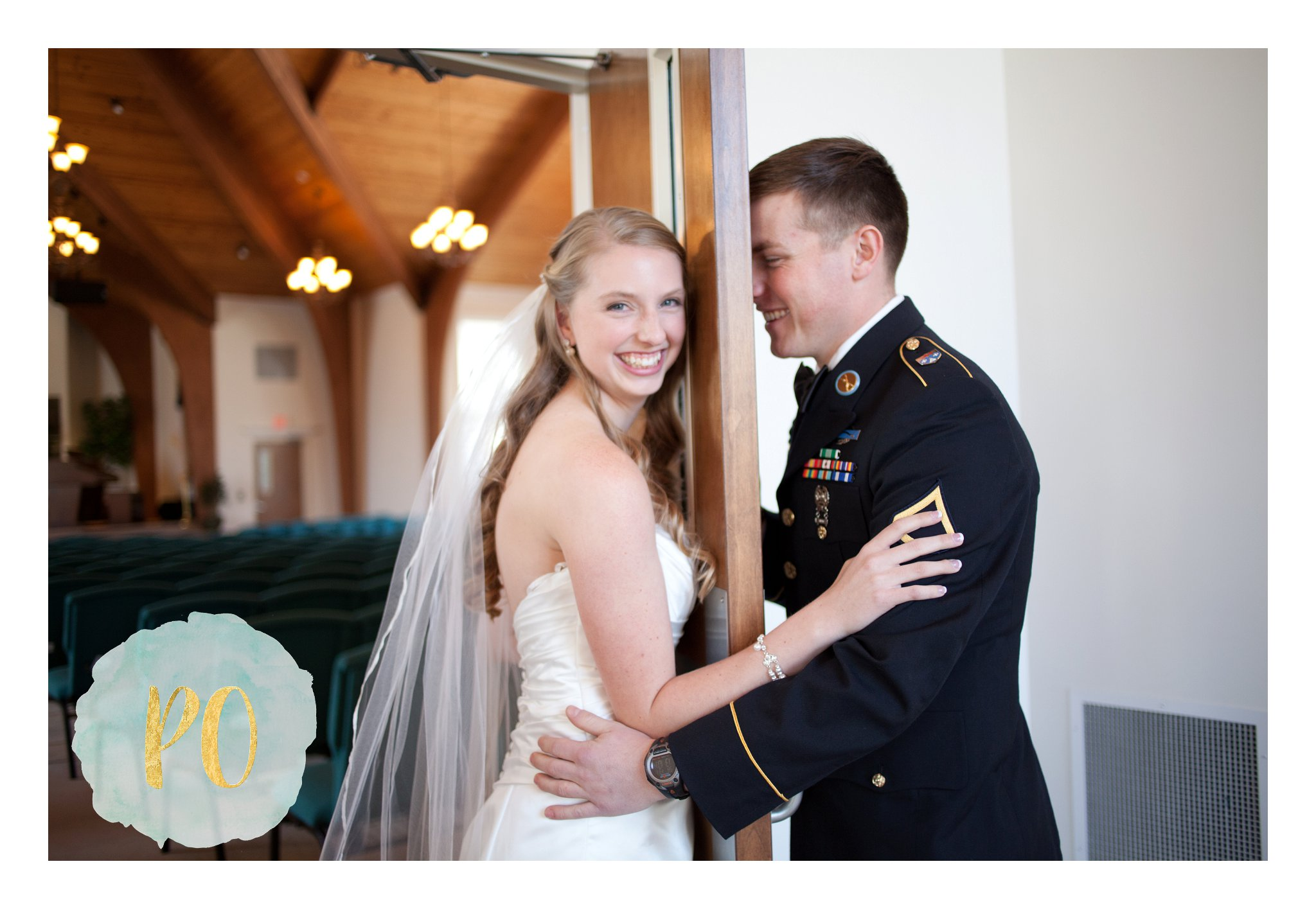 military wedding, church, first touch, poured out photography