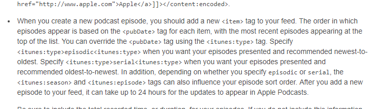 Screenshot taken of Apple Podcast's excerpt of Podcast Best Practices Web page
