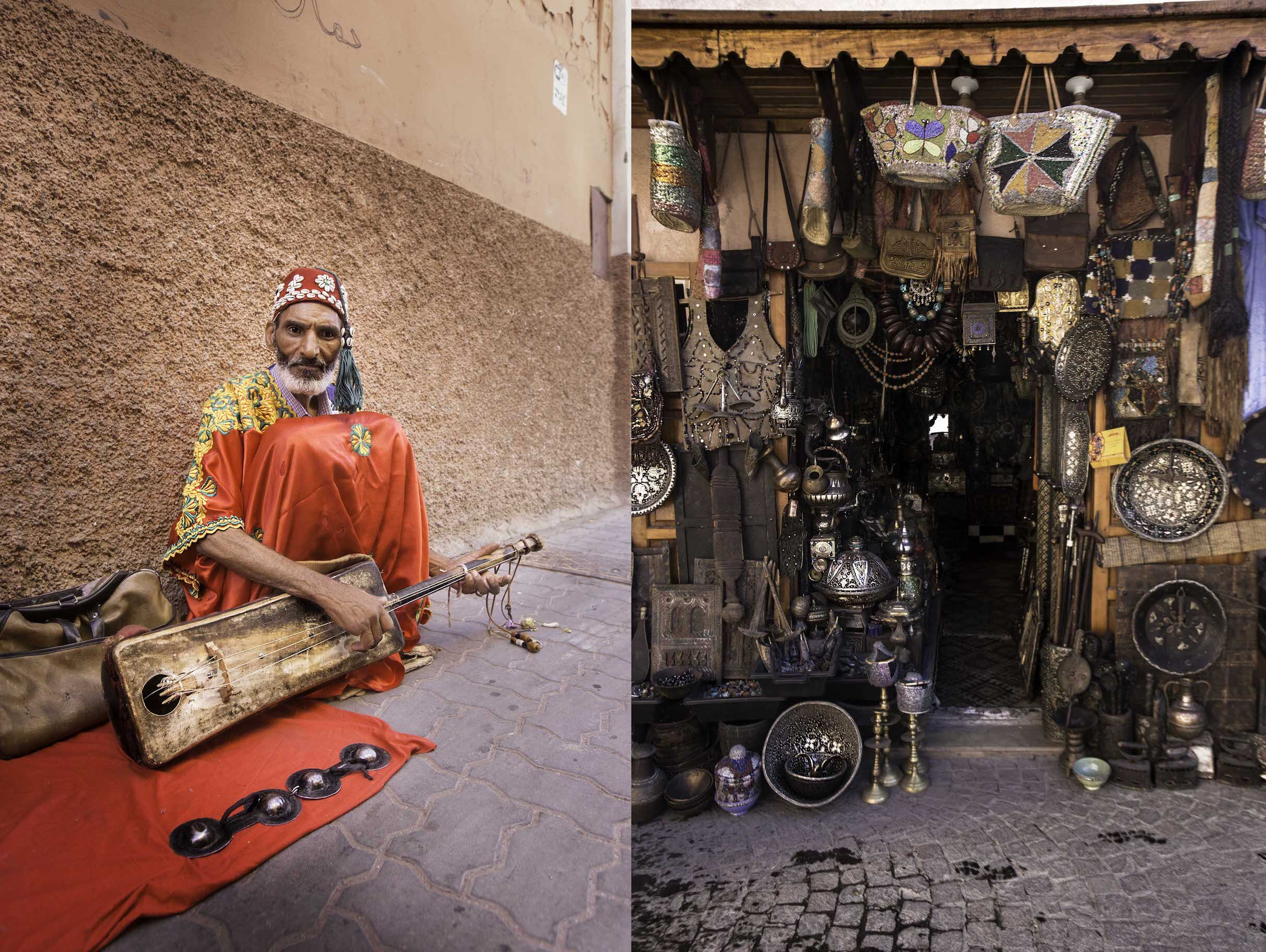 A local playing his Sintir and Krakeb Bells below and one of many local lovely shop in the Old Town Medina.